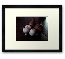 French Shallots and Mushrooms in Morning Light Framed Print