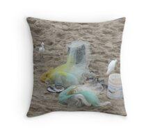 White herons at the beach Throw Pillow