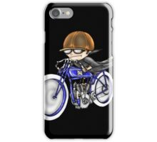 MOTORCYCLE EXCELSIOR STYLE (BLUE BIKE) iPhone Case/Skin