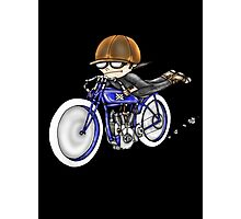 MOTORCYCLE EXCELSIOR STYLE (BLUE BIKE) Photographic Print