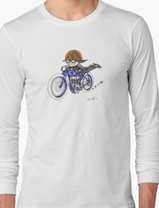MOTORCYCLE EXCELSIOR STYLE (BLUE BIKE) Long Sleeve T-Shirt