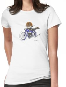 MOTORCYCLE EXCELSIOR STYLE (BLUE BIKE) Womens Fitted T-Shirt