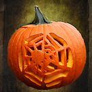 Pumpkin Showcasing a Spider Carving by SummerJade