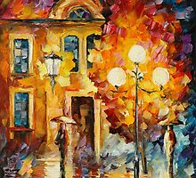 BELATED MEETING - original oil painting on canvas by Leonid Afremov by Leonid  Afremov