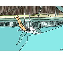 Diver - Woman Diving into Swimming Pool Photographic Print