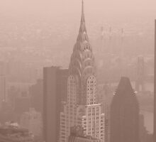 The Empire State View of Chrysler Building in New York, USA by Sarah Louise English