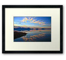 Oregon Sunset with Canoe Framed Print