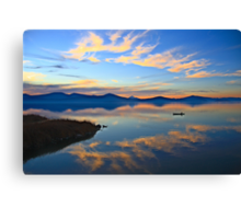 Oregon Sunset with Canoe Canvas Print