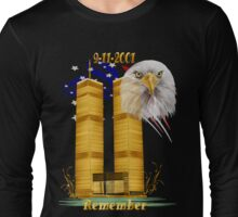 Gold Twin Towers, Eagle n Flag Long Sleeve T-Shirt