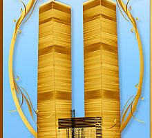 Gold Twin Towers lettered  by Lotacats