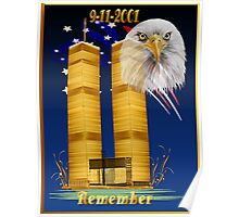 Gold Twin Towers, Eagle n Flag Poster