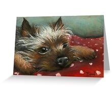 Yorkie and hearts Greeting Card