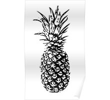Pineapple in black and white.  Poster