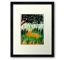Bambi safe for now, while Mom feeds, watercolor Framed Print