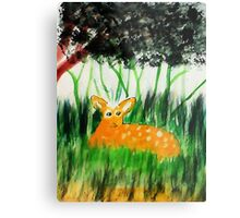 Bambi safe for now, while Mom feeds, watercolor Metal Print