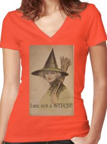 I am not a WITCH! Women's Fitted V-Neck T-Shirt