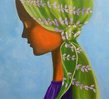 GIRL WITH A GREEN SCARF by Dian Bernardo
