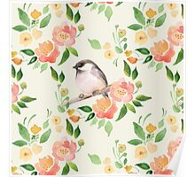 Watercolor floral background with a cut bird. Seamless pattern  Poster