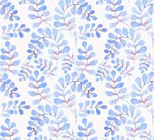 Abstract floral pattern with hand-drawn watercolor elements. by Gribanessa