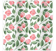 Romantic flowers. Hand drawn floral pattern. Seamless Poster