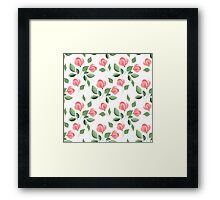 Romantic flowers. Hand drawn floral pattern. Seamless 2 Framed Print