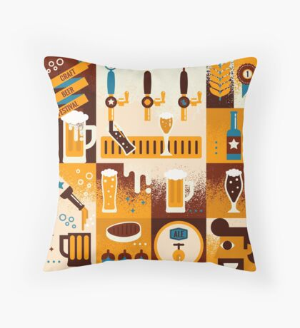 Craft Beer Concept Throw Pillow