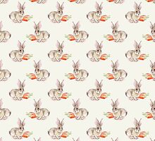 Rabbit and carrot. Seamless pattern. Cute watercolor background by Gribanessa