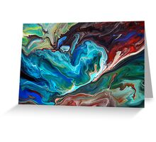 Colourful Abstract Fluid Painting Greeting Card