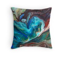 Colourful Abstract Fluid Painting Throw Pillow