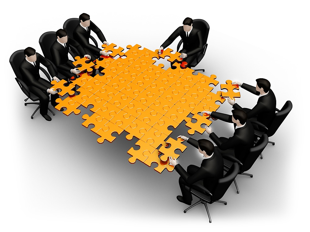 3d business team work a puzzle by anadmist