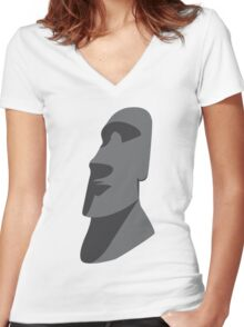 Easter Island Head  Women's Fitted V-Neck T-Shirt