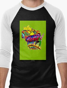 Wisconsin State, includes colorful Wisconsin State icons Men's Baseball ¾ T-Shirt