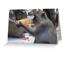 Thirsty Monkey Greeting Card