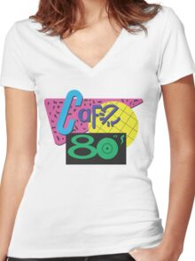 Back To The Cafe 80's Women's Fitted V-Neck T-Shirt