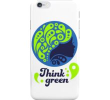 Think Green, Ecology Concept icon, woman half face silhouette iPhone Case/Skin