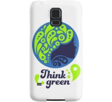 Think Green, Ecology Concept icon, woman half face silhouette Samsung Galaxy Case/Skin