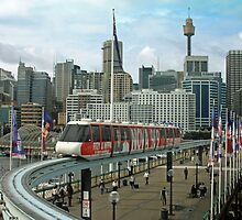 Sydney Monorail by buildings