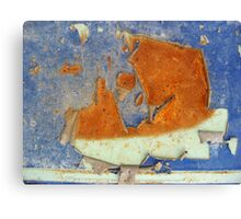 Rust and Blue - Sailboat Under The Moon Canvas Print