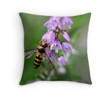 Hoverfly on Heather Throw Pillow