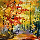 GOLDEN FALL - original oil painting on canvas by Leonid Afremov by Leonid  Afremov