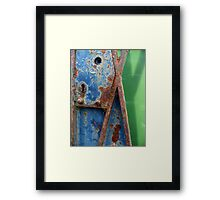 A Rusty Old Lock On An Open Gate Framed Print