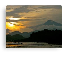 Cameroon Mountains & Ocean at Sunset Canvas Print
