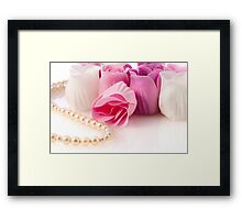 Soap roses and pearl necklace Framed Print