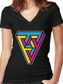 CMYK Triangle Women's Fitted V-Neck T-Shirt