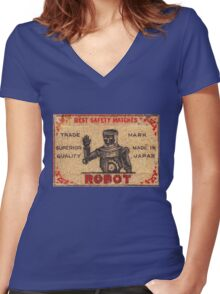 Vintage Robot Match Box Women's Fitted V-Neck T-Shirt