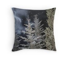 Trees & Snow on a Cold Night Throw Pillow