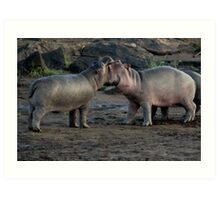 Africa Continues - Good Morning Hippos Art Print