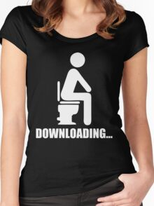 DOWNLOADING TOILET MUSIC FUNNY MEN T-SHIRT TOP BLACK L Women's Fitted Scoop T-Shirt