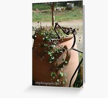 flower pot and metal dog Greeting Card