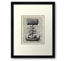 Vintage Baloon Airship Ink Illustration Over a Old Dictionary Page Framed Print